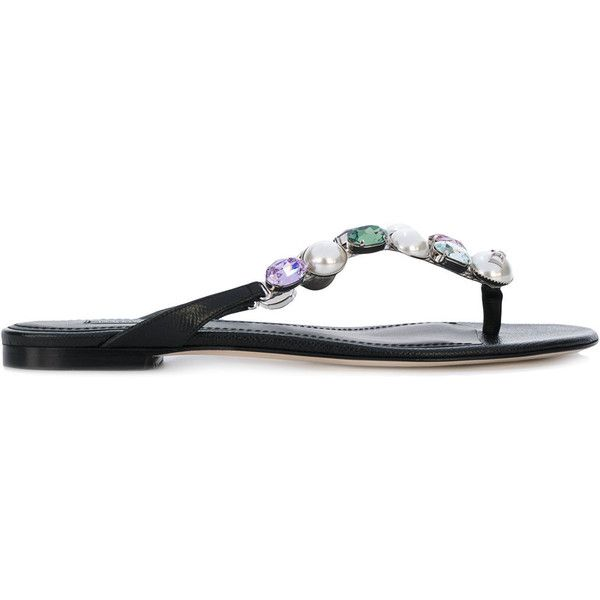 Dolce & Gabbana crystal and pearl-embellished flip flops (14,055 MXN) ❤ liked on Polyvore featuring shoes, sandals, flip flops, black, black slip on sandals, black sandals, black flip flops, crystal sandals and summer flip flops