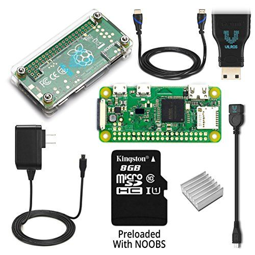 Raspberry Pi Zero W Complete Starter Kit--Includes Pi Zero W and 7 Essential Accessories  Includes: Raspberry Pi Zero W -Featuring :802.11 b/g/n wireless LAN-Bluetooth 4.1-Bluetooth Low Energy (BLE)  8GB Micro SD Card Preloaded With NOOBS  2A Power Supply Designed for Raspberry Pi-----Clear Transparent Protective Cover  Micro USB to USB Adapter---Micro HDMI to HDMI Adapter & 5ft HDMI Cable  Heastsink For PI Zero