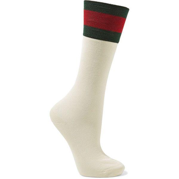 Gucci Striped cotton-blend socks (€105) ❤ liked on Polyvore featuring intimates, hosiery, socks, cream, gucci, cotton-blend socks, striped socks, gucci socks and stripe socks