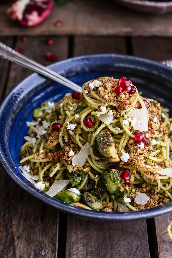 Manchego Brussels Sprout + Prosciutto Spaghetti w/Brown Butter Pistachio Pangrattato by halfbakedharvest #Pasta #Brussel_Sprouts