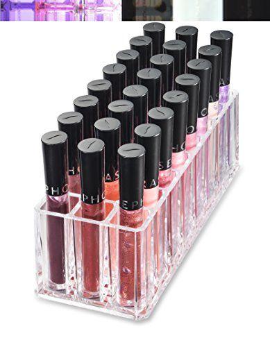 Acrylic Lip Gloss Organizer and Beauty Care Organizer - 24 Space Storage byAlegoryTM (Clear) byAlegory Premium Beauty Organization