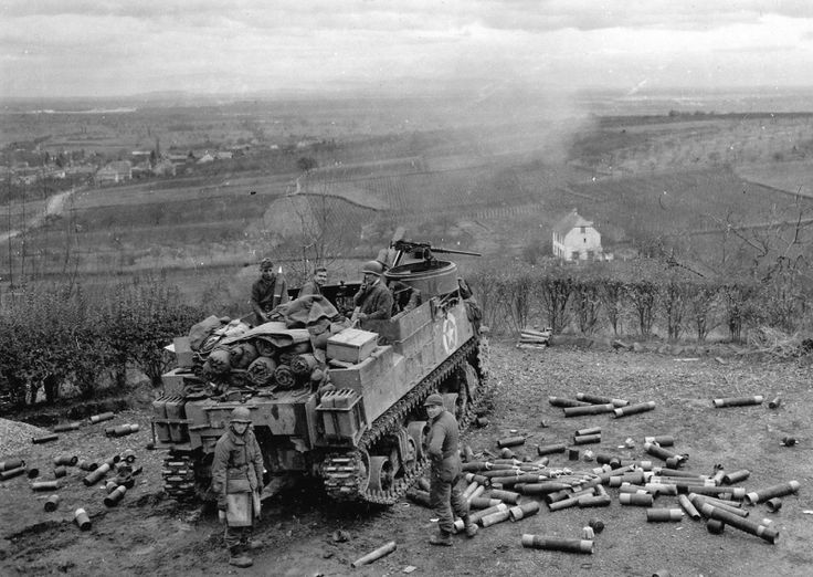 """American self-propelled howitzer M7 """"Priest"""" (105 mm HMC M7) at the position in Ribeauville, France. December 9, 1944."""