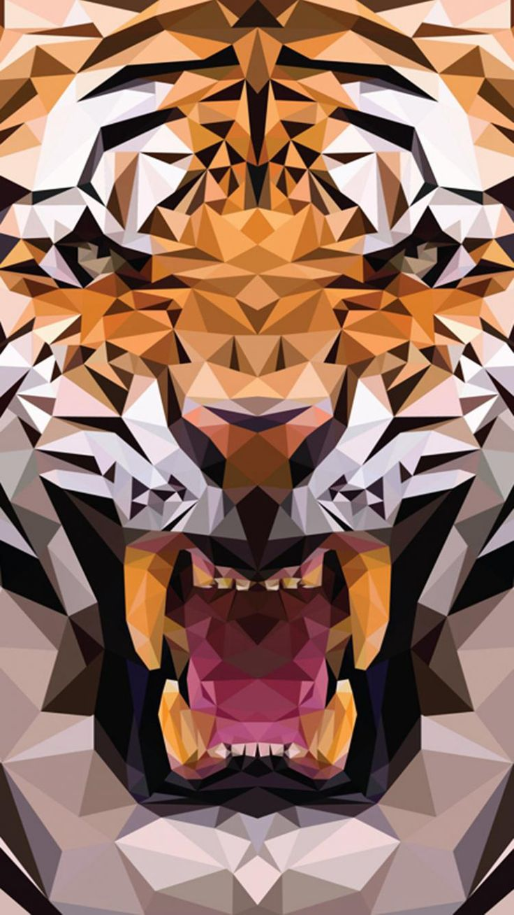 iOS8 Animals Tiger Polygon Pattern Drawn #iPhone #6 #plus #wallpaper