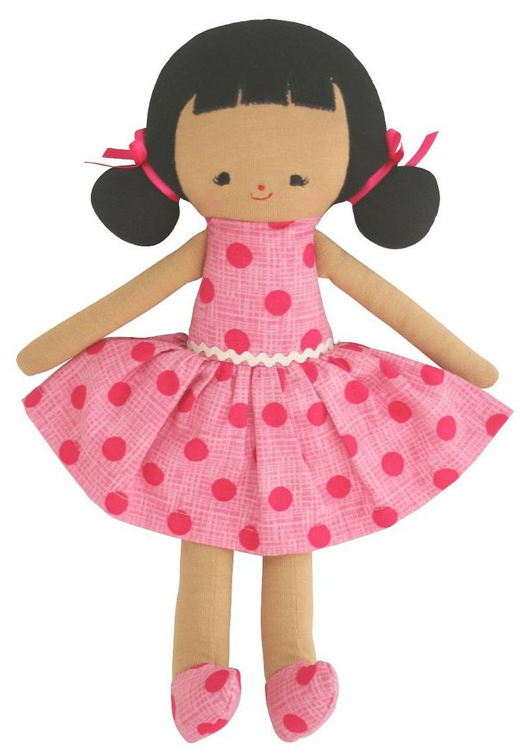 Audrey Doll in Fuchsia Spot Dress available at www.motherbabystore.com.au by Alimrose Designs