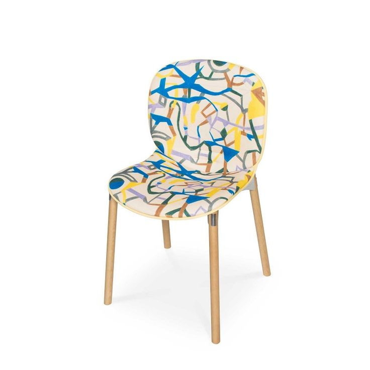 RBM Noor chair x Psychedelic Pathways | Light wood by 44flavours | FEATHR™    Featuring a bold and contemporary hand-drawn designer fabric by Berlin-based graffiti duo 44flavours, with influences from cartographic maps, street art and vintage wallpaper.