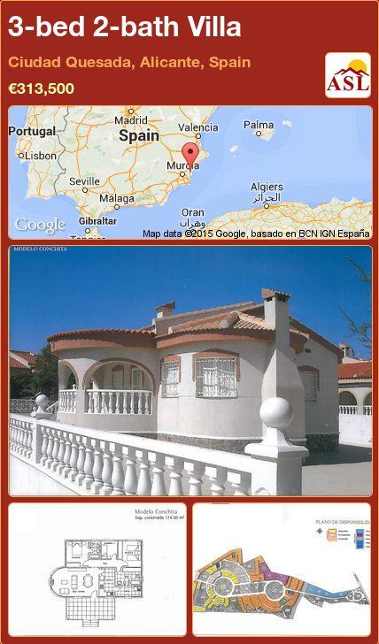 3-bed 2-bath Villa in Ciudad Quesada, Alicante, Spain ►€313,500 #PropertyForSaleInSpain