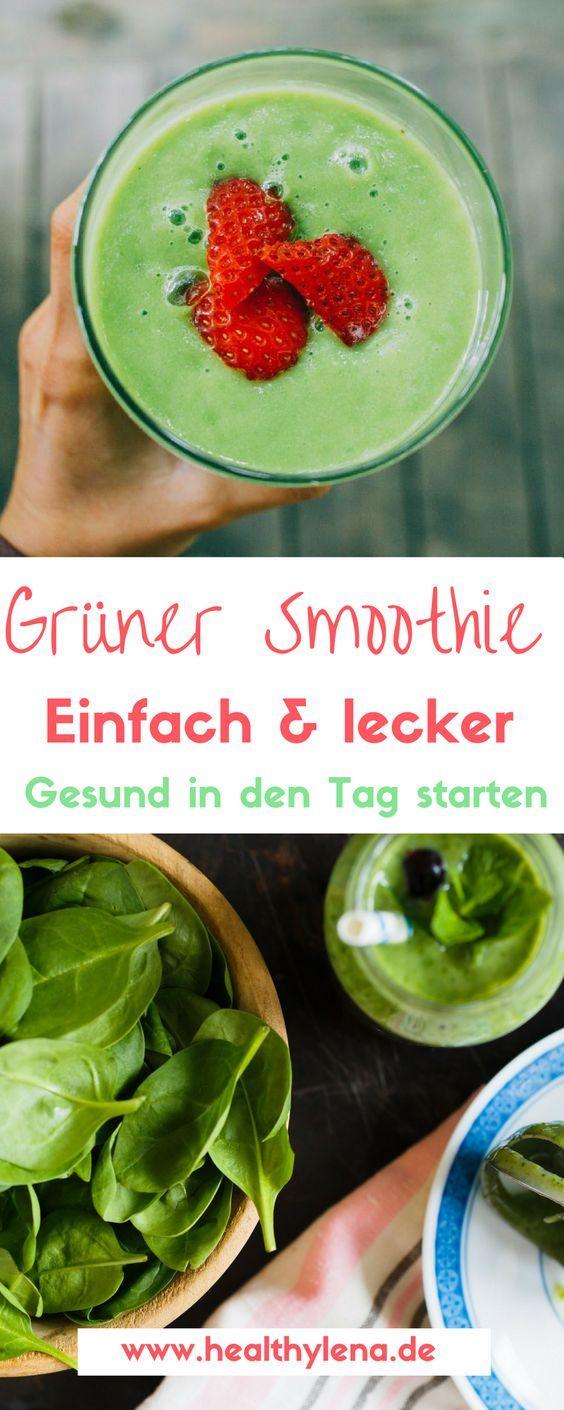 Dieser grüne Power Smoothie liefert Energie für den Tag #gesund #frühstück #grün #healthylena #gruenersmoothie #lecker #einfach: