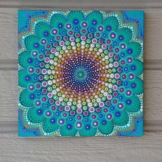 Punto Mandala en madera primavera Mandala 10 x 10 pintura