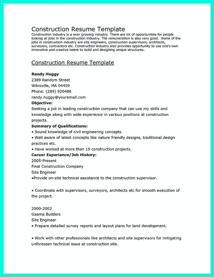 31 best Resume, business and career images on Pinterest Resume - construction resume templates