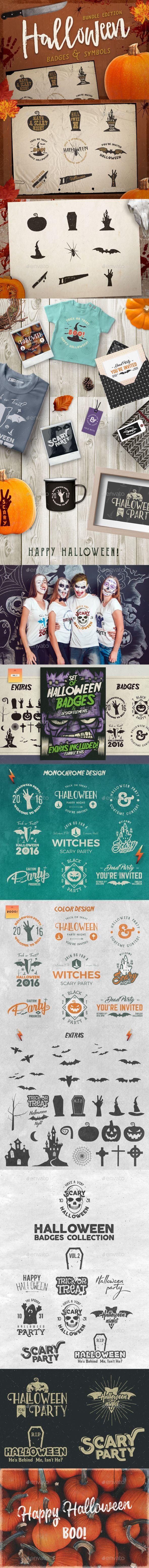 Halloween Badges / Retro Logo Set. Bundle Edition — Photoshop PSD #orange #lettering • Available here ➝ https://graphicriver.net/item/halloween-badges-retro-logo-set-bundle-edition/20708547?ref=rabosch