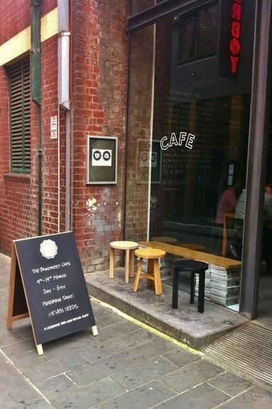 stools for very small front porch. .The Broadsheet Cafe, Melbourne