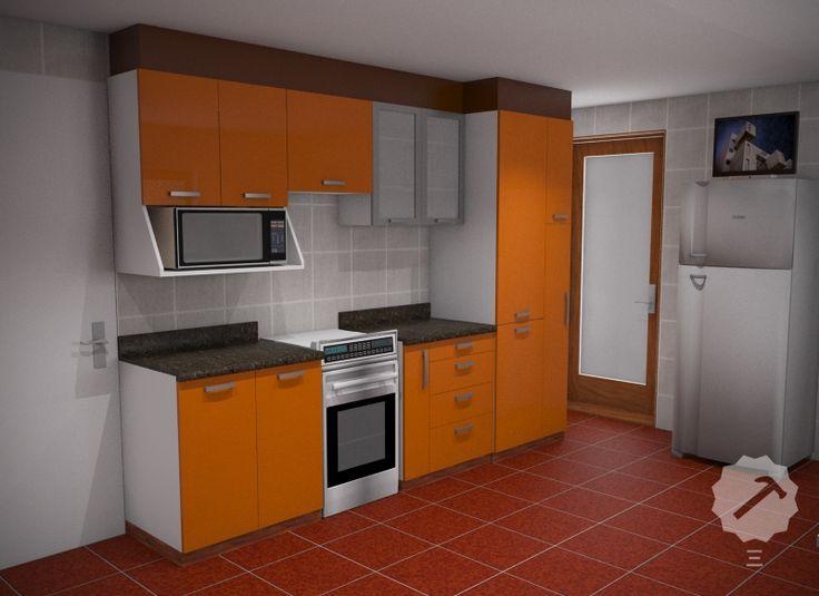 Mueble cocina alto y bajo con estructura interior en for Modelos de muebles de cocina altos y bajos