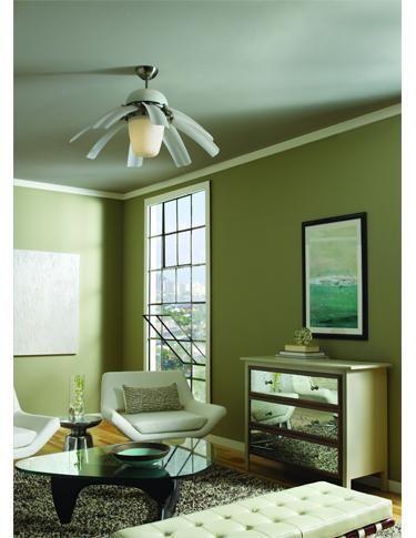 #Salon de style #contemporain avec #ventilateur. / #Contemporary #livingroom with #ceilingfan.