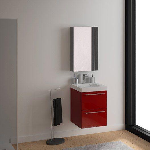 meuble de salle de bains rouge 2 tiroirs l46xh577xp46 cm - Salle De Bain Rouge Et Blanc