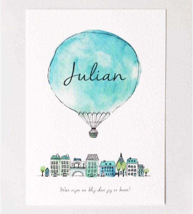 Geboortekaartje jongen - Ontwerp Julian #geboortekaartjes #geboortekaartje #ontwerp #jongen #baby #babyboy #birth #announcement #jongens #jongetje #blauw #zwanger #babyopkomst #kaartje #geboorte #illustraties #origineel #luchtballon #amsterdam #blauw #groen #birthannouncement