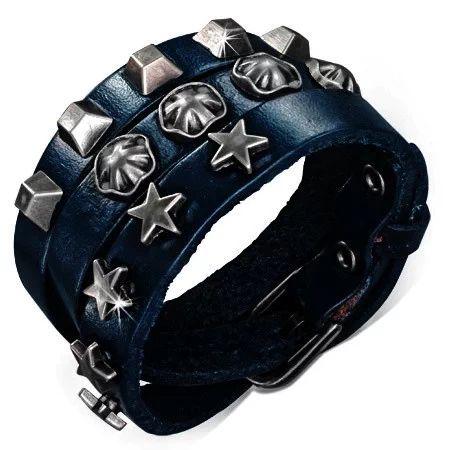 Dlouhý kožený náramek, vyrobený z pravé kůže v temně modré barvě