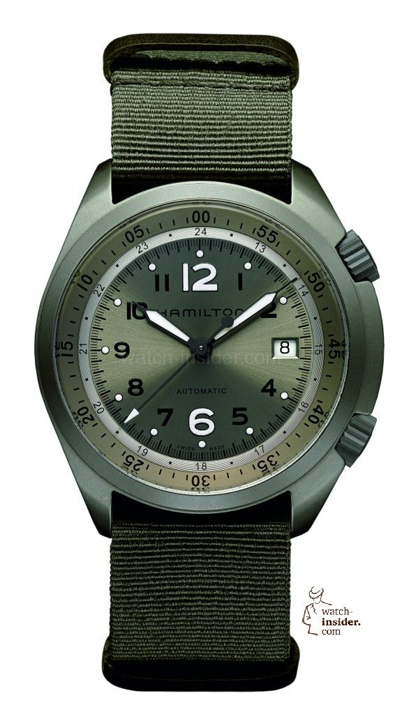 The @hamiltonwatch Khaki Pioneer Aluminum. Read more at:  http://www.watchtime.com/wristwatch-industry-news/industry/military-time-watch-insider-presents-10-watches-with-nato-straps/2/ #hamilton #watchtime #militarywatches