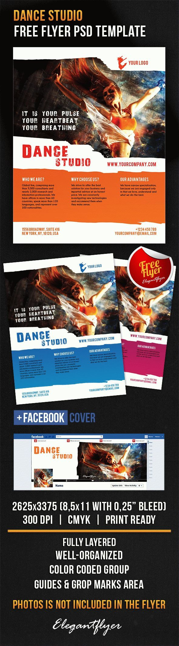 download dance studio facebook cover template psd flyer free business templates