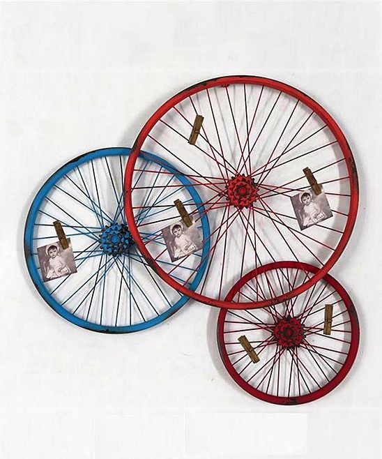 Triple Bicycle Wheel Wall Display Décor