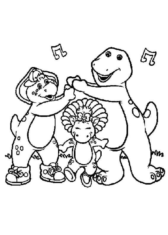 barney and friends sing coloring page
