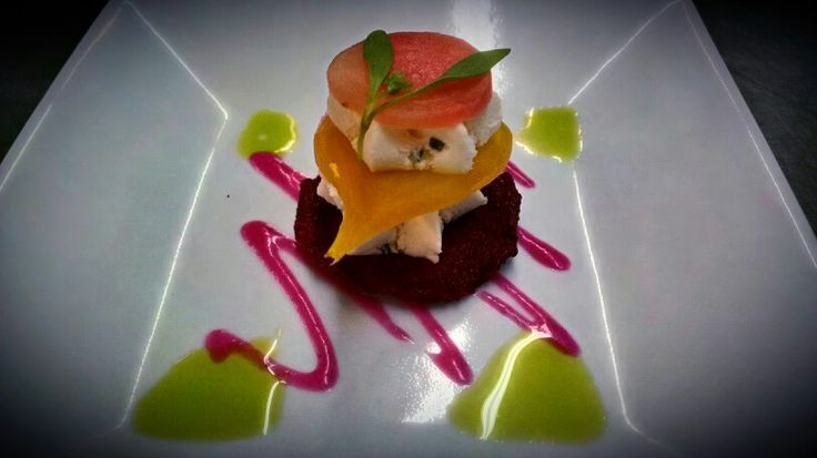 Beet Napoleon, Lemon-Chive Goat Cheese Mousse, Beet Chip