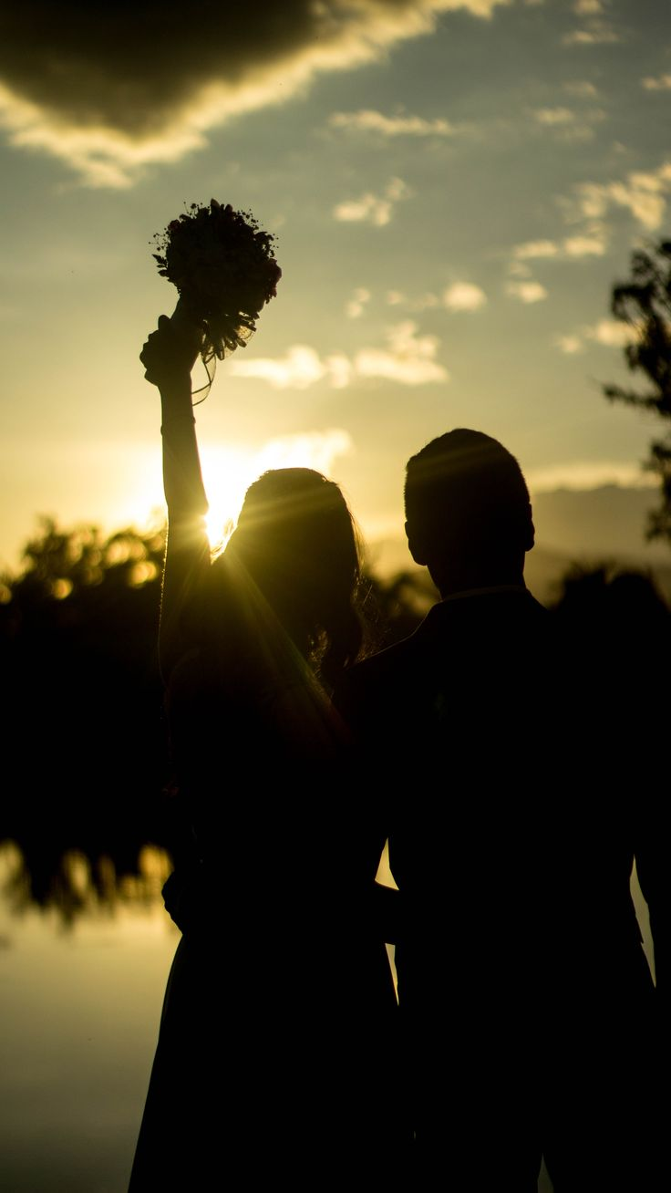 Just married sunset picture