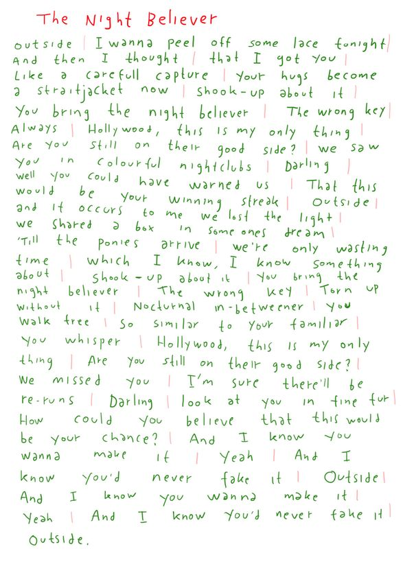 THE NIGHT BELIEVER LYRICS HANDWRITTEN BY JONAS. http://bit.do/mew365