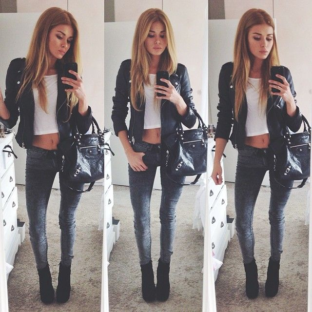 Leather jacket  white crop top  skinny jeans  black boots