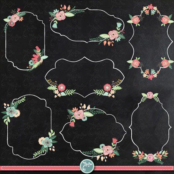 Chalkboard Wedding Clipart Wedding Flora Frame Etsy In 2020 Clip Art Vintage Wedding Clipart Flora Frame