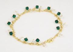 Emerald and Diamond Crystal Bracelet