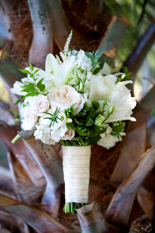 White Lily, Ranunculus, and Freesia Bouquet
