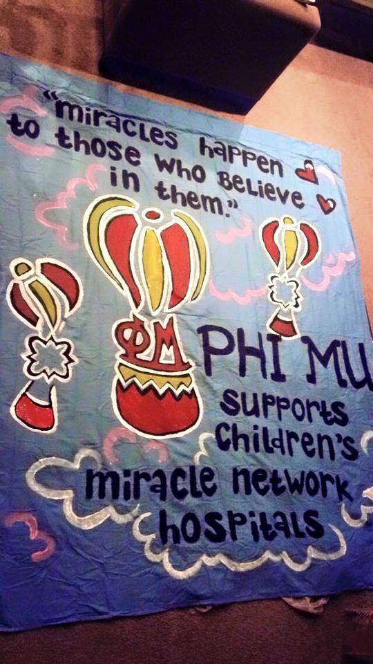 Phi Mu Philanthropy Round Sheet Sign Recruitment Decorations from Miami University Beta Eta Chapter