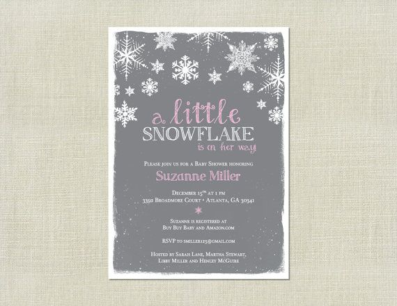 Little Snowflake Girl Pink Baby Shower by HappyHeartPrinting