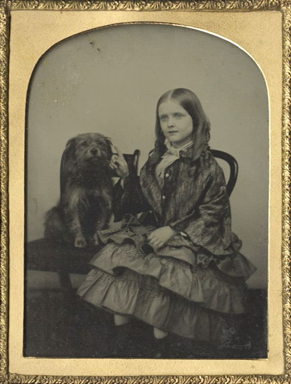 Anonymous - Girl and Dog Seated on Chair, c.1855