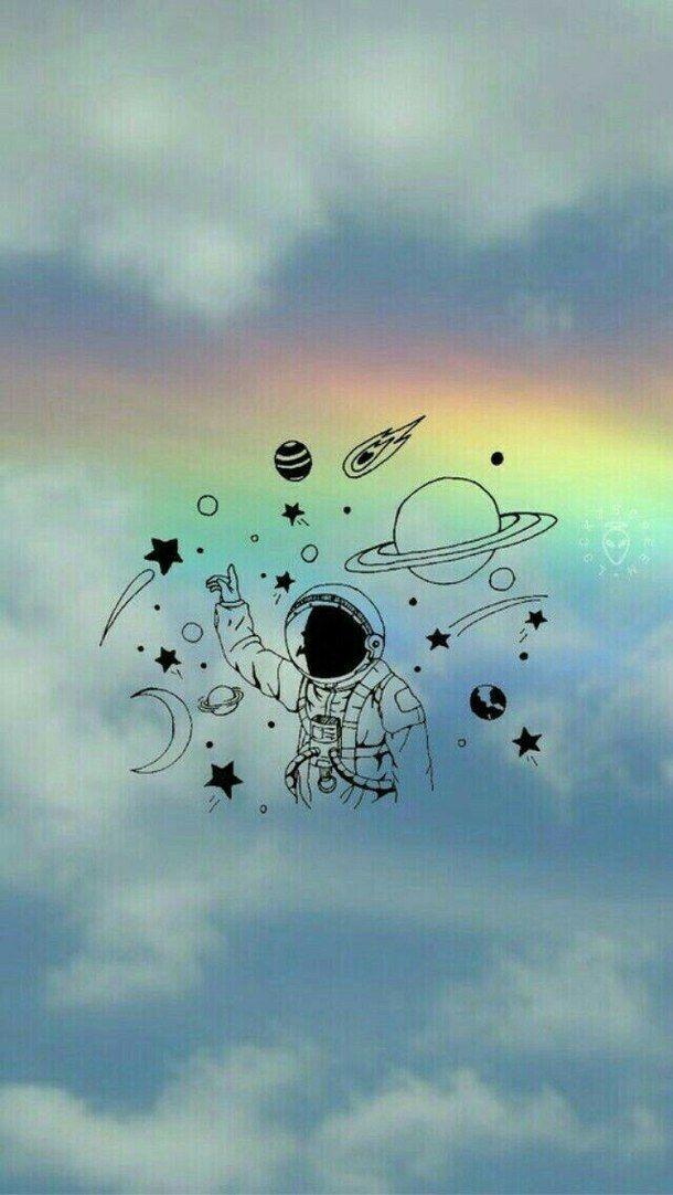 Astronauta Azul Nuvens Papel De Parede Planetas Papel