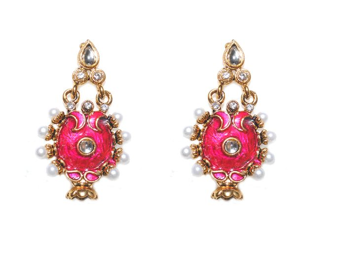 red antique traditional crystal earring
