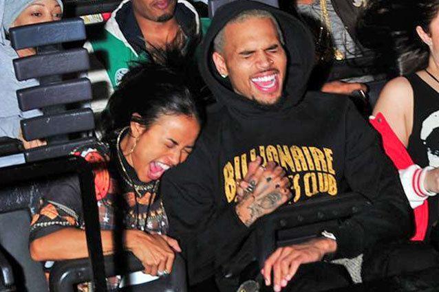 Singer Chris Brown and model girlfriend Karrueche Tran screamed at the Universal Studios Halloween Horror Nights in Los Angeles on October 18th. It's ok, we're scared of heights too.