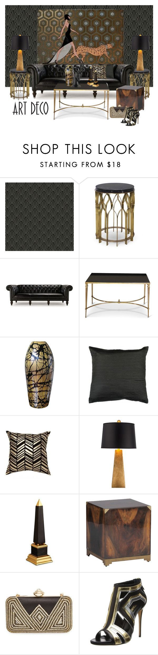 Art Deco...All the very best for 2015 Polyfriends by gloriettequartet on Polyvore featuring interior, interiors, interior design, home, home decor, interior decorating, Mitchell Gold + Bob Williams, Possini Euro Design, Today Interiors and L'Objet #artdecofurniture