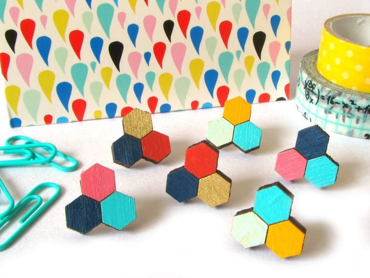 Hexagon Honeycomb Wooden Trio Stud Earrings #hexagon #honeycomb #graphicearrings #earrings #woodenearrings #lasercutearrings #lasercut #wood #contemporary #contemporaryjewellery #uk #design #bright #colour #honeycombstuds #hexagon #geometric #geometricearrings #redpaperhouse #folksy #etsy #notonthehighstreet #etsyfinds #etsyseller #folksyseller #new #mustard #turquoise #fashion #indie #smallbusiness #craft #independent #womeninbusiness