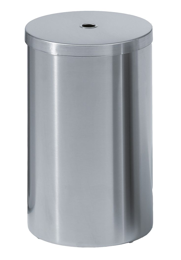 Walther Round Trash Can, Stainless Steel Wastebaske W/ Lid Cover