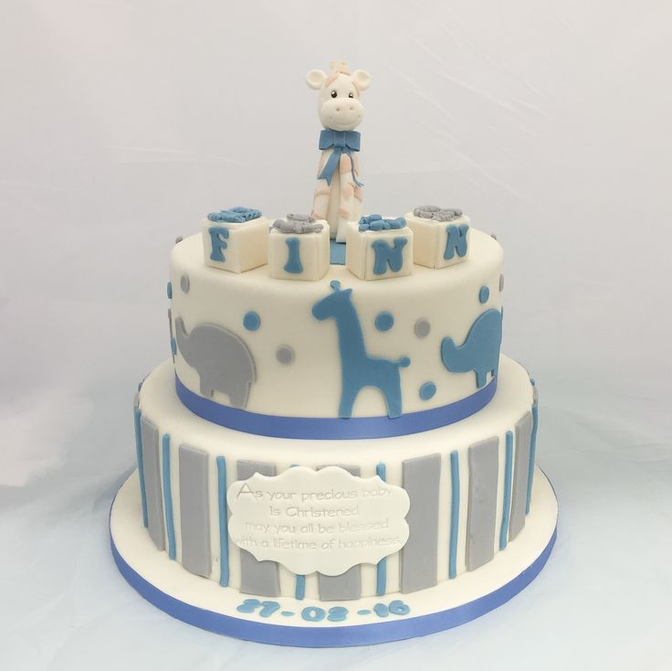 Lovely boy's Christening cake featuring stripes, elephants and giraffes, topped with baby blocks & a gumpaste baby giraffe. www.kellylou.com
