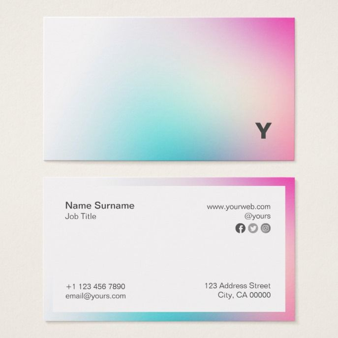 Abstract Minimalist Holo Gradient Business Card Zazzle Com Business Card Inspiration Square Business Cards Buisness Cards