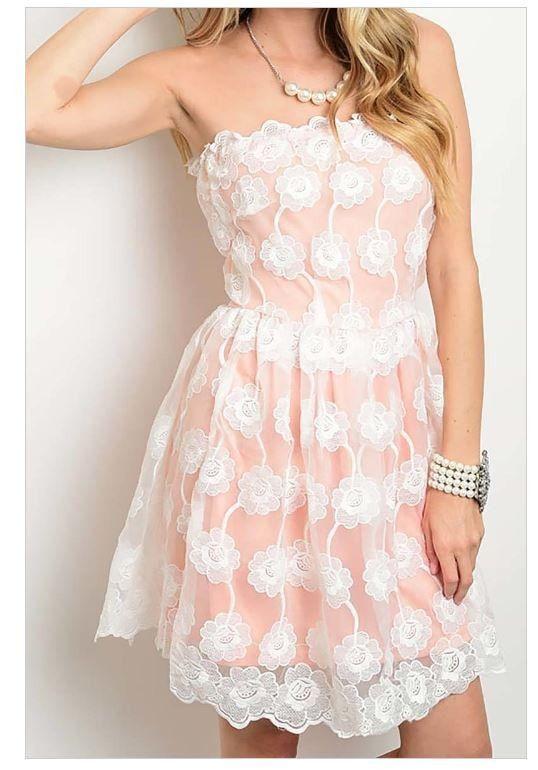 Make It Happen Peach Pink Scalloped Lace Strapless Dress