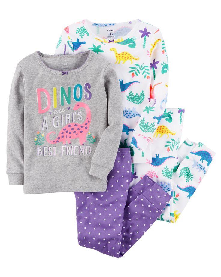 Kid Girl 4-Piece Dinos Snug Fit Cotton PJs | Carters.com