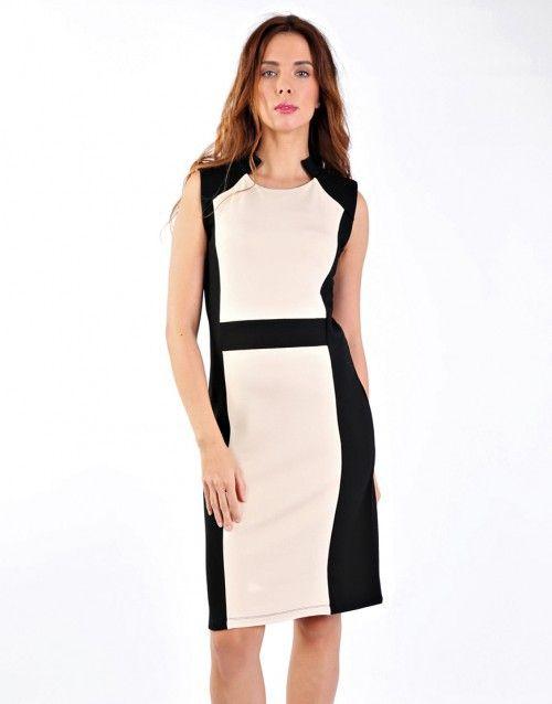 Εκρού και μαύρο μίνι πόντε φόρεμα - Μαύρο και εκρού