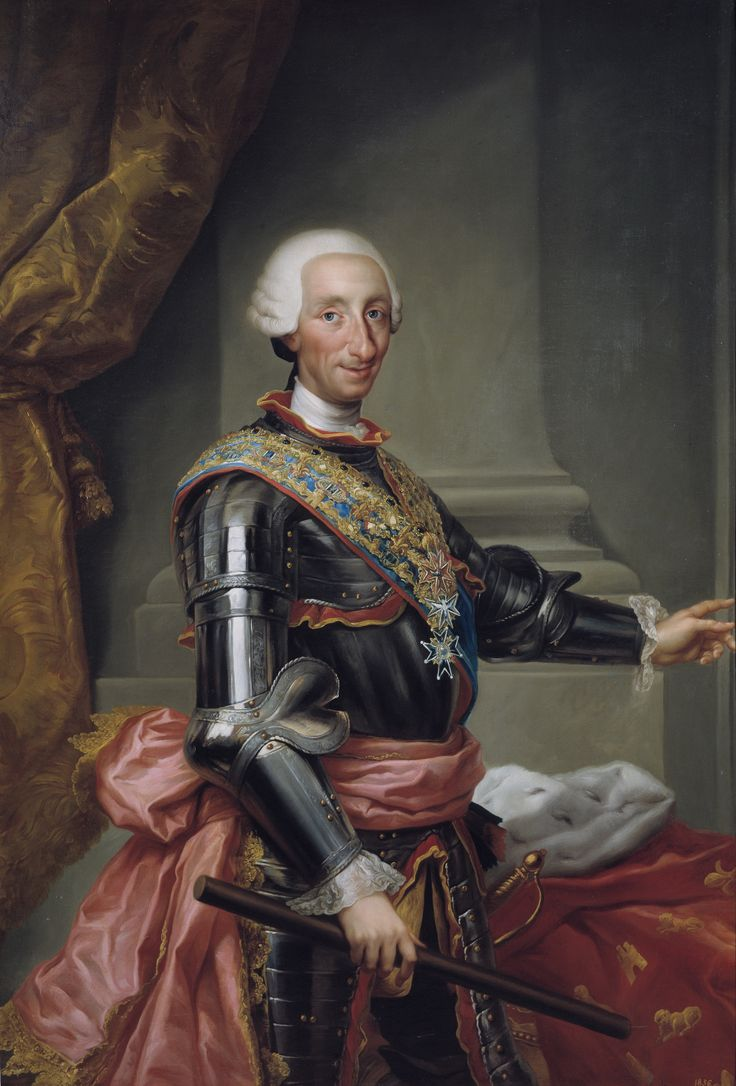 Carlos III by Anton Rafael Mengs (circa 1774) Museo Nacional del Prado, Madrid. Carlos III or Charles III was king of Spain from 1759 to 1788. He successfully introduced many reforms & united the Spanish people. Prior to becoming King of Spain, he had been king of Naples & Sicily.