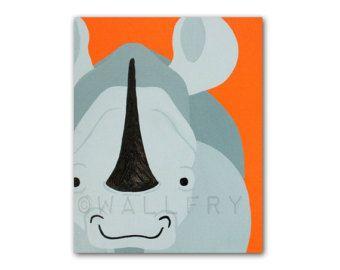 Pépinière de Rhino impression. Oeuvre de Safari, art de la jungle, animaux de décoration du zoo pour enfants, animaux nurserie bébé & enfant chambres salles de jeux en gris et orange