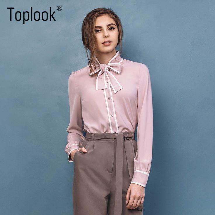 Toplook элегантные розовые женские блузки Топы 2017, Новая мода лук рубашка с длинными рукавами воротником стойкой повседневные женские офисные рубашки купить на AliExpress