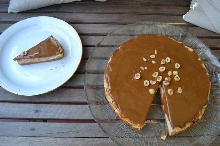 Cheese, chocolate, 'dulce de leche' and hazelnut tart