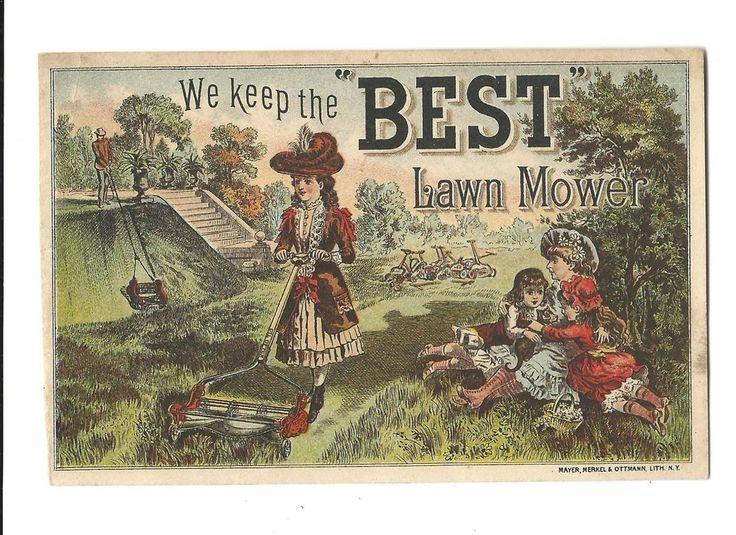 Old Trade Card BEST Lawn Mower Lawn Mowing Estate Reel Price List